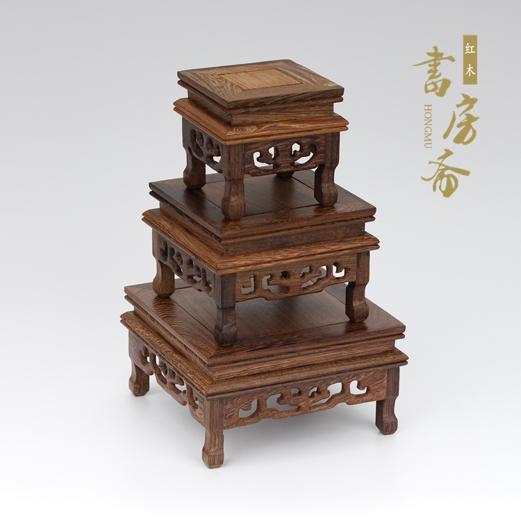 pedestal de madera maciza Bonsai Muebles de base de madera Pedestal de palisandro Soporte de exhibici/ón Base de tetera cuadrada peque/ña y delicada Soporte de florero oriental Base de florero #1