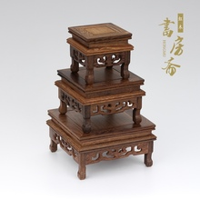 Wood base redwood pedestal vase pot plant stand collection display traditional china home decoration garden