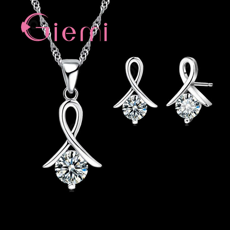 Genuine 925 Sterling Silver High Quality Cubic Zirconia Necklace Earrings Pendant Crystal Jewelry Set For Women
