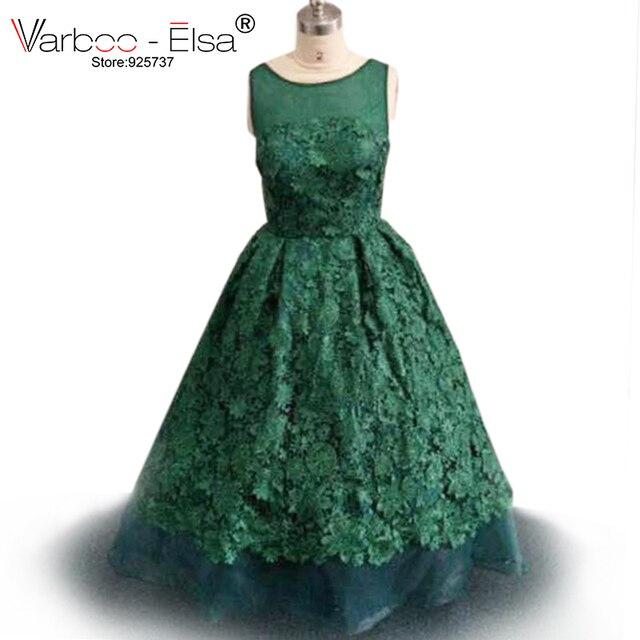 Beautiful High Low Dress Illusion Neckline Flowers Emerald Green Prom Vestidos De Festa Vestido