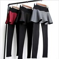 Free Shipping Autumn And Winter New Space Cotton Loose Folds Fake Two Leggings Bottoming Skirt Leisure WUZD004