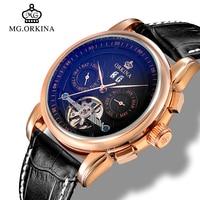 Mg.orkina Tourbillon Automatic Watch Luxury Rose Gold Mechanical Self Wind Auto Date Wrist Watches Men montre automatique homme