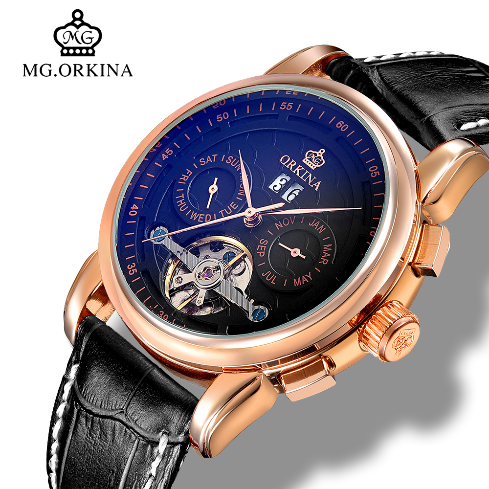 Mg.orkina Tourbillon Automatic Watch Luxury Rose Gold Mechanical Self Wind Auto Date Wrist Watches Men montre automatique homme original binger mans automatic mechanical wrist watch date display watch self wind steel with gold wheel watches new luxury