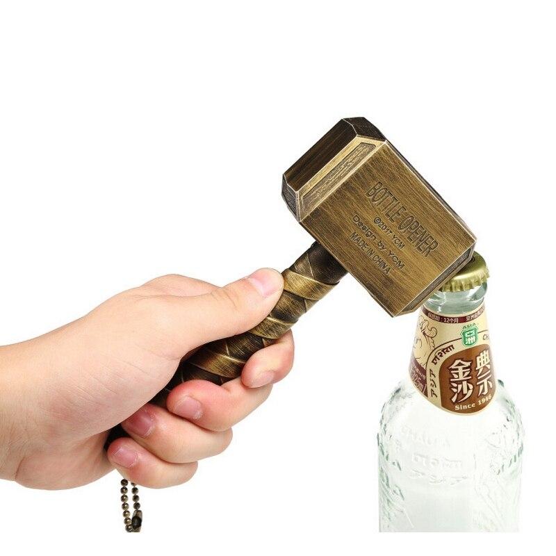 Innovative Mental Beer Bottle Openers Multi-function Hammer Of Thor Shaped Beer Bottle Opener With Long Handle Kitchen Gadgets
