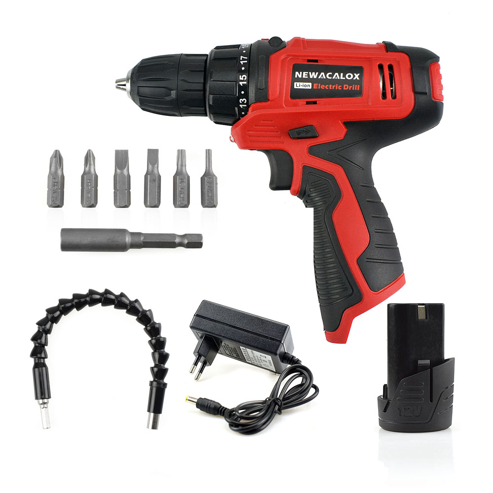 NEWACALOX 10.8V Household Cordless Drill Lithium Li-ion Battery Electric Drill Screwdriver free shipping 48v 15ah battery pack lithium ion motor bike electric 48v scooters with 30a bms 2a charger