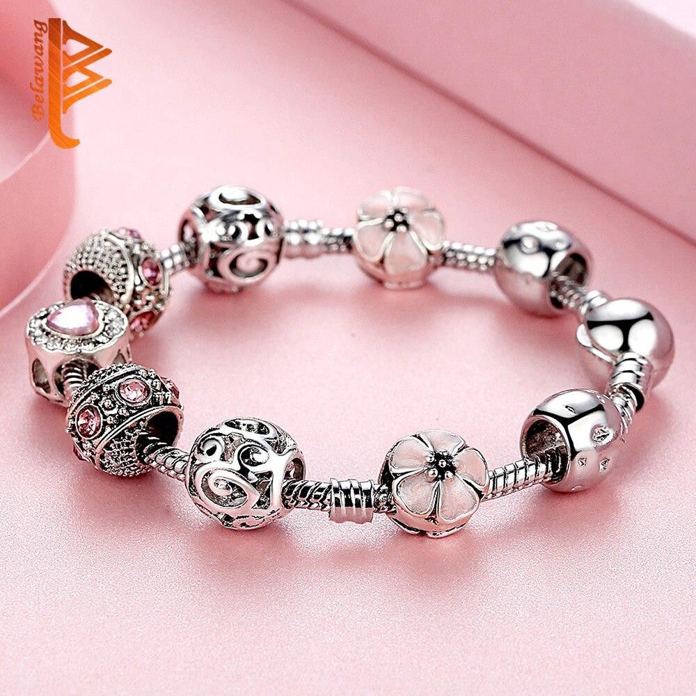 BELAWANG Luksuzni 925 srebrni šarm narukvice za žene s cvijetom i - Modni nakit - Foto 5