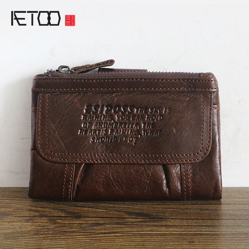 AETOO New hot retro multi-functional oil wax cowhide wallet large-capacity men's clutch bag Vintage wallet functional capacity of mango leave extracts