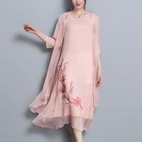 high quality Spring Summer Vintage long Dress 2 Piece Set Women Floral Embroidery Dress Elegant Chiffon Silk Dreeses Vestido