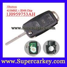 Envío gratis (1 pieza) 3 botón Flip remoto clave 1J0 959 753 AH con ID48 Chip de 433 MHZ para 2002-2005 VOLKSWAGEN PASSAT