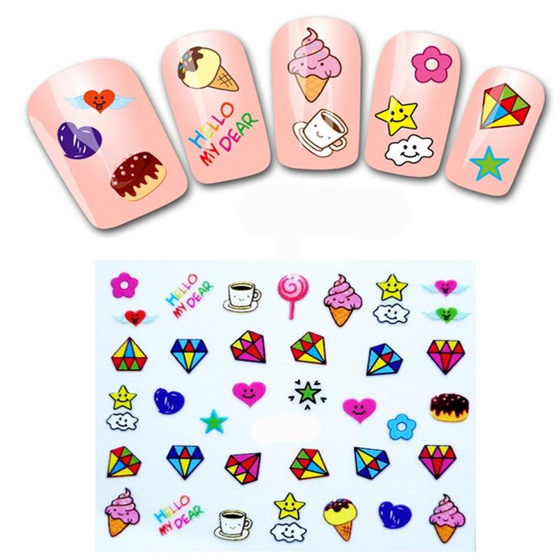 5Pcs Fashion 3D Nail Design Cute DIY Cartoon Colorful Diamonds Icecream Nail Art Sticker Decal Manicure Polish Styling Tools