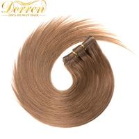 Dorren Hair 100 Braziland Remy Hair Clip In Human Hair Extensions 8 Light Brown 120Gram Naturanl