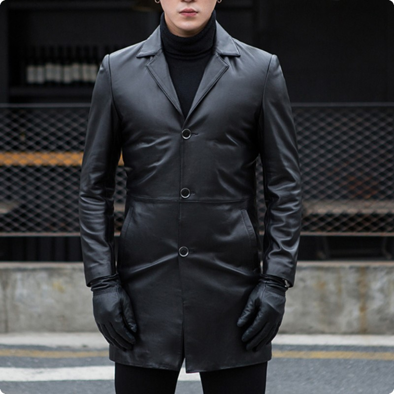 Autumn New Arrival Mens Sheepskin Genium Leather Jackets Slim Fit Male Long Coat Jaqueta De Couro Masculino Genuino Solid