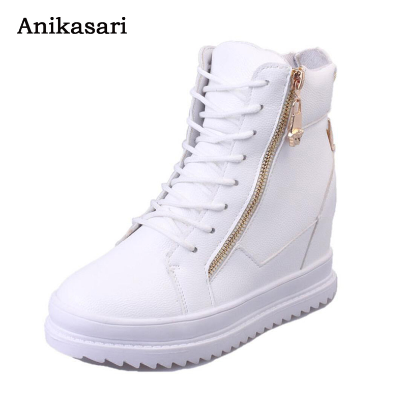 Women Ankle Boots Height Increasing Platform Elevator Shoes Black Winter High Top Autumn Winter Hidden Heels Casual Shoes Woman wdzkn 2017 platform high heels wedge women shoes chaussure femme black white hidden heels elevator shoes winter casual shoes