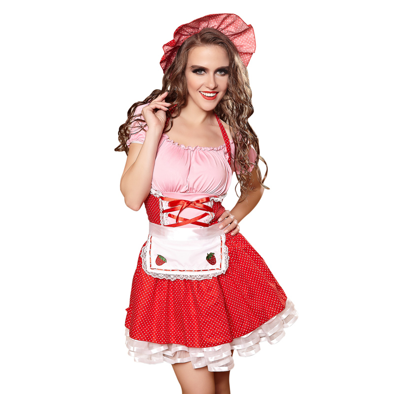 2017 Adult Carnival Party Games Club Sexy French Maid Costume Plus Size Halloween -7554
