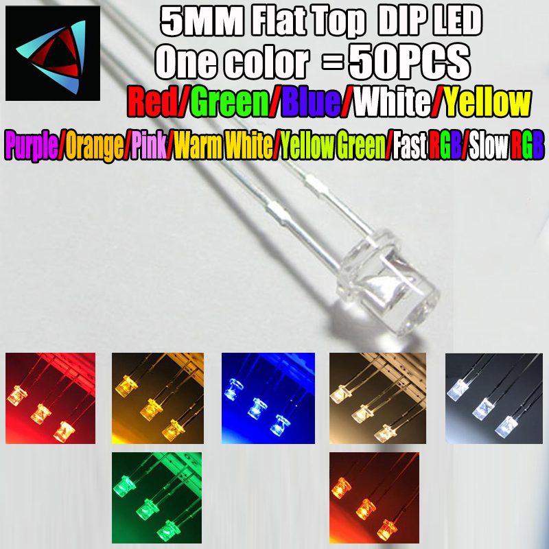 Purple Diffused Ultra Bright Flat Top Wide Angle LEDs Light 50 x LED 5mm UV