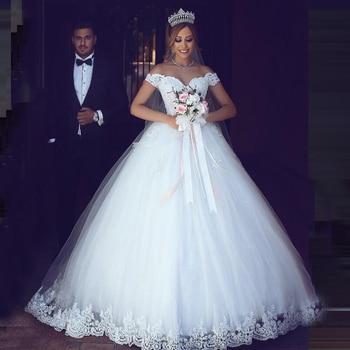 miaoduo wedding dress 2019 Cap Sleeve Lace Applique  Court Train Crystal Beading vestido de noiva princesa Custom Made