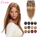 Double Wefted Clip In The Natural Hair Extensions 100% Human Remy Black Hair Extension Clip In Straight 140 Gram For Full Head