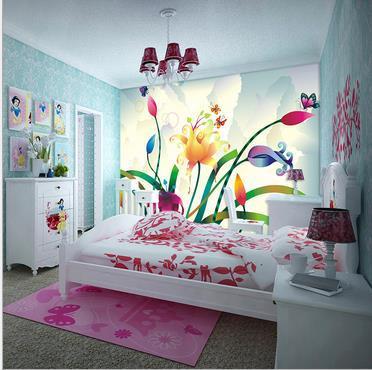 مخصص 3d خلفيات فراشة زهرة التلفزيون إعداد ورق حائط خلفيات
