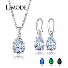 UMODE 2019 New Fashion Water Drop Pendant Necklace and Earrings Set for Women Blue Black Green Zircon White Gold Jewelry AUS0082
