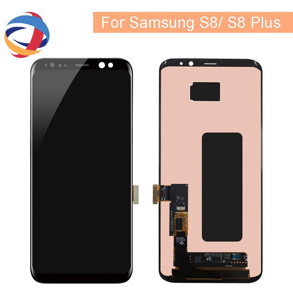 AMOLED Lcd Para Samsung S8 G950F G950U G950 Display LCD Touch Screen Substituição Assembleia Parte Para G955 S8 Mais LCD exibição G955F