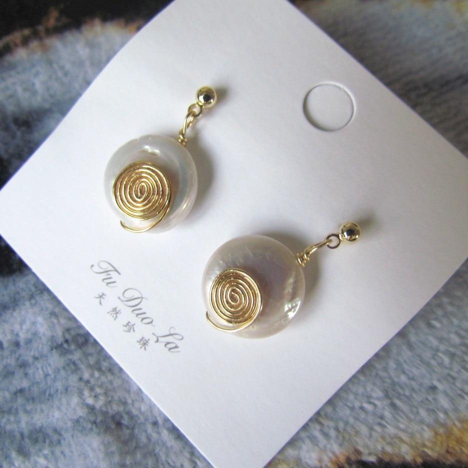 Gold Handmade Freshwater Pearl Drop Earrings for Women Fashion Bijoux Boucle-Doreille-Femme- Perle 2019 Tendance Sale FL7630