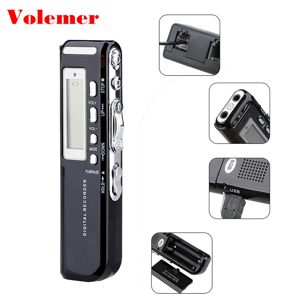 Volemer 4 gb/8 gb USB Pen Digital Voice Recorder Voice Activited Digital Audio Voice Recorder MP3 Player Diktiergerät WAV Grabadora