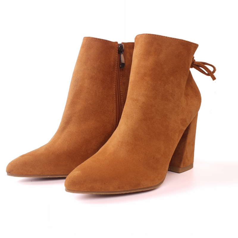 Designer Women Boots Genuine Leather High Heels Ankle Boots Ladies Zipper Pointed Toe Motorcycle Boots Shoes Yellow CN-A0001
