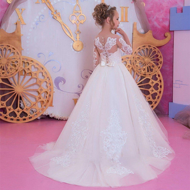 Vestidos de encaje blanco con apliques de flores para niña, para boda, Fiesta en cascada, manga larga, Princesa, vestido Formal de chica, Vestido de primera comunión