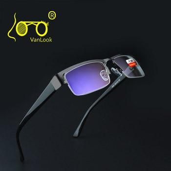 ステンレス近視メガネコンピュータ男性眼鏡クリアレンズ眼鏡抗ブルーレイ眼鏡フレーム-4.5-5.0 -5.5-6.0