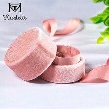 Kuololit pink velvet Round Bowknot jewelry box for Wedding E