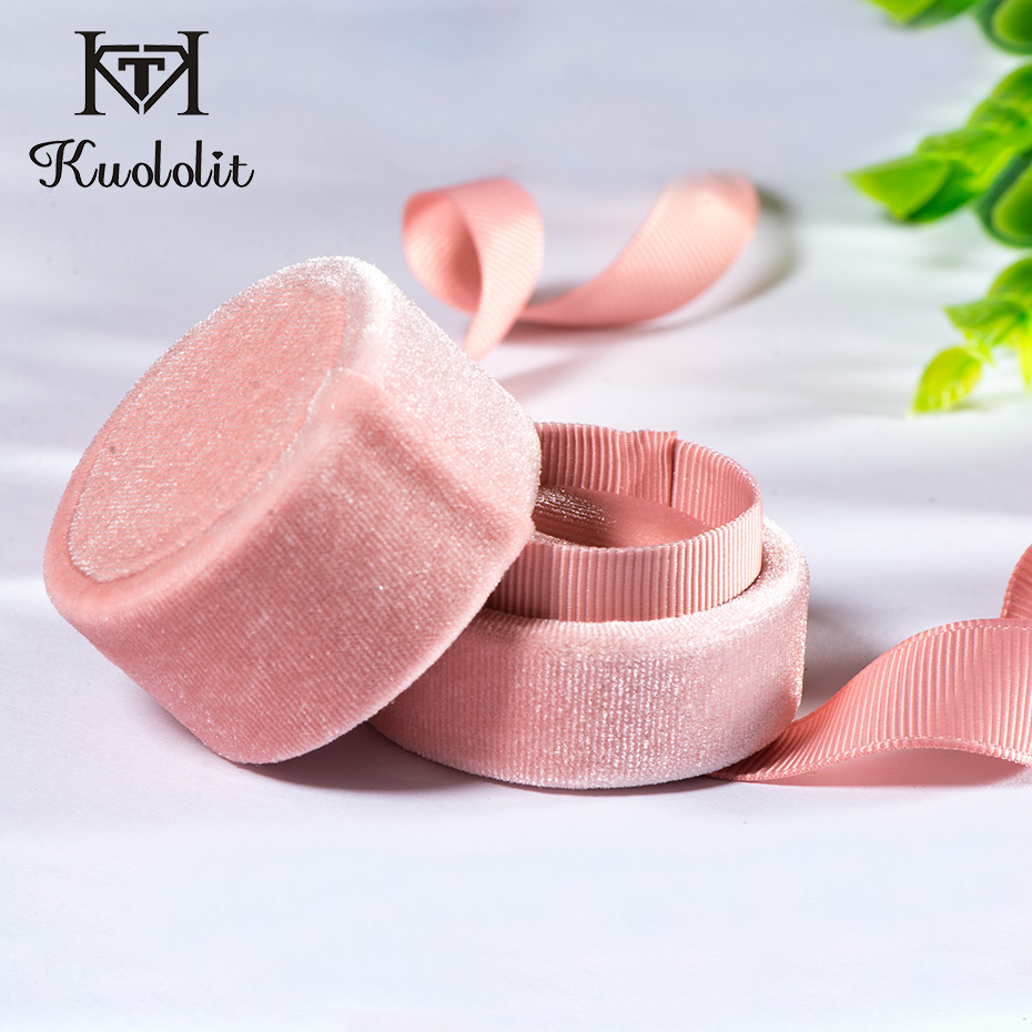 Kuololit pink velvet Round Bowknot jewelry box for Wedding Engagement Ring Earrings Necklace Bracelet Jewelry Packaging DisplayKuololit pink velvet Round Bowknot jewelry box for Wedding Engagement Ring Earrings Necklace Bracelet Jewelry Packaging Display