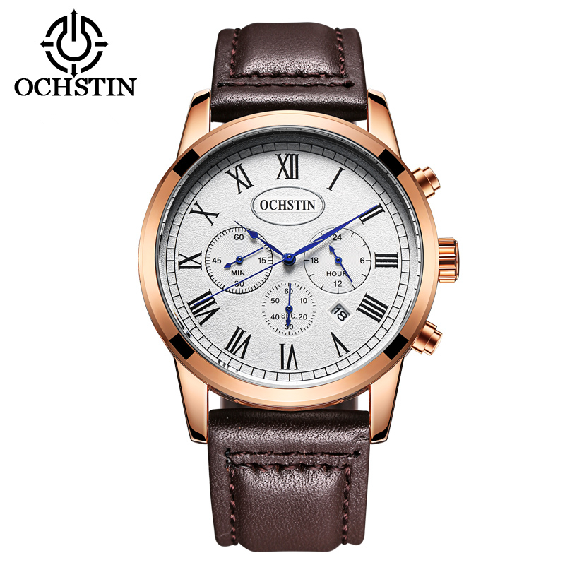 OCHSTIN Men sport Chronograph leather Watch 30M Waterproof Luxury Brand Quartz Watches Relogio masculino Clock male Wristwatch reef tiger brand men s luxury swiss sport watches silicone quartz super grand chronograph super bright watch relogio masculino