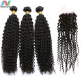 Newness Brazilian Virgin Hair with Closure, 3 Bundles With Closure, Unprocessed Brazilian Curly Wave With Closure