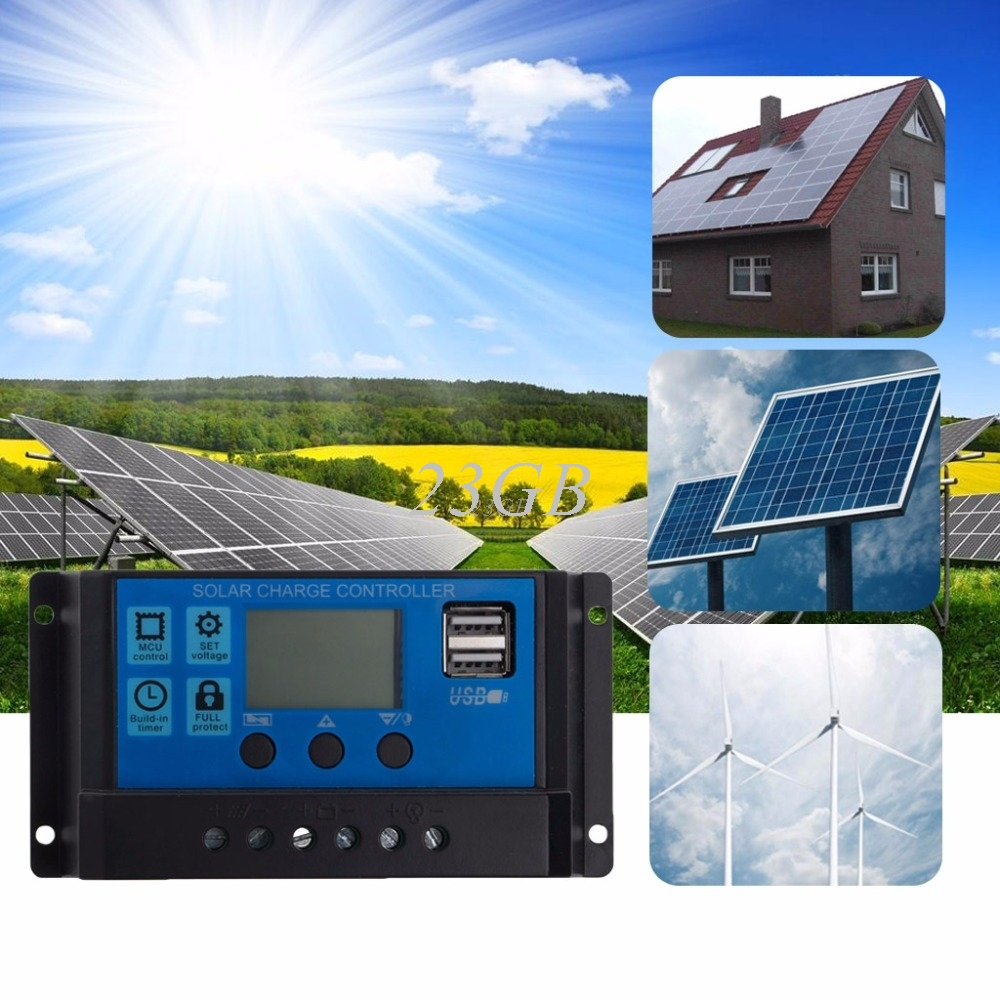 PWM 10/20/30A Dual USB Solar Panel Battery Regulator Charge Controller 12/24V LCD A18_15 10a 20a 30a lcd pwm solar panel charge controller battery regulator 12v 24v with dual usb