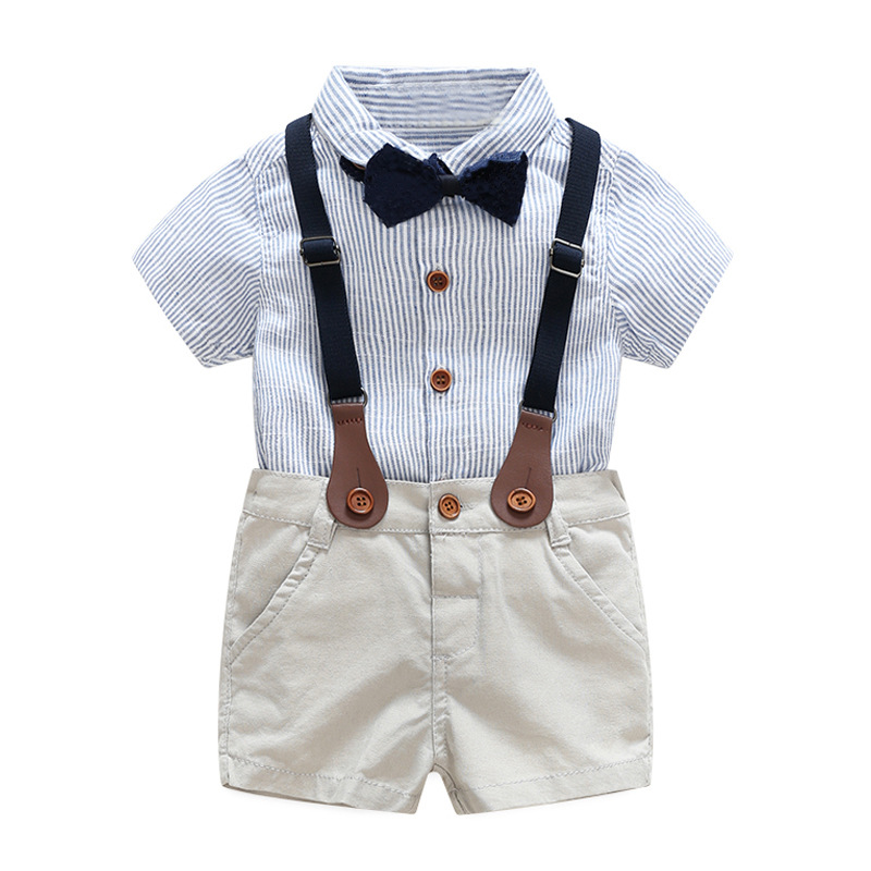 Cute Baby Boys Stripes Tees Shirts and Overall Pants 2pcs Sets Candy Color Fashion Summer Western Clothing