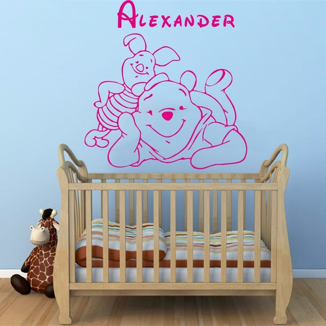 Winnie The Pooh Baby Wandaufkleber Dekoration Benutzerdefinierte Baby Namen  Schlafzimmer Decor Vinyl Abnehmbare Wandtattoos