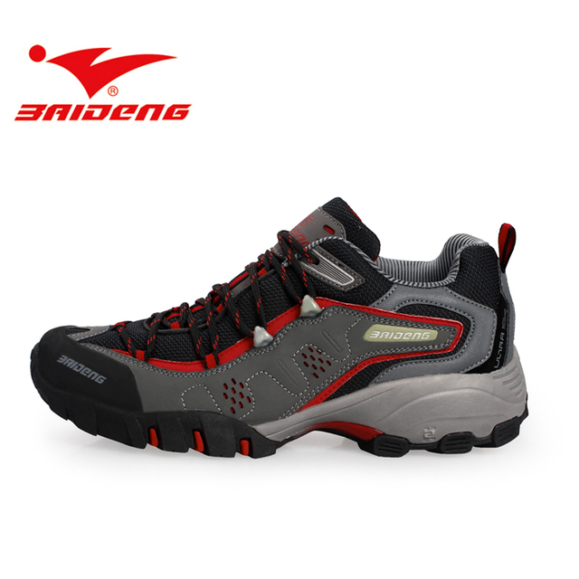 Baideng pria kulit Asli sepatu Hiking Luar Berjalan Sneakers wanita sepatu  Gunung Sepatu climbing trekking e40dbcd486
