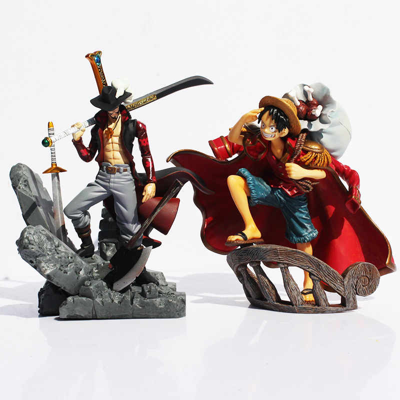 One Piece Luffy Dracule VS Mihawk Pvc Action Figures 15CM Japanese Anime Cool Collection Model Kids Toys for Children Hot Gifts anime one piece mini pvc figures toys 10pcs set luffy ace boa hankokku dracule mihawk doflamingo kuma teach jinbe moria edward
