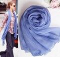 Hijab Muçulmano Cachecol De Primavera 100% crepe de seda lenço azul lenço boêmio marca de luxo mulheres wrinkle festa de seda pashmina