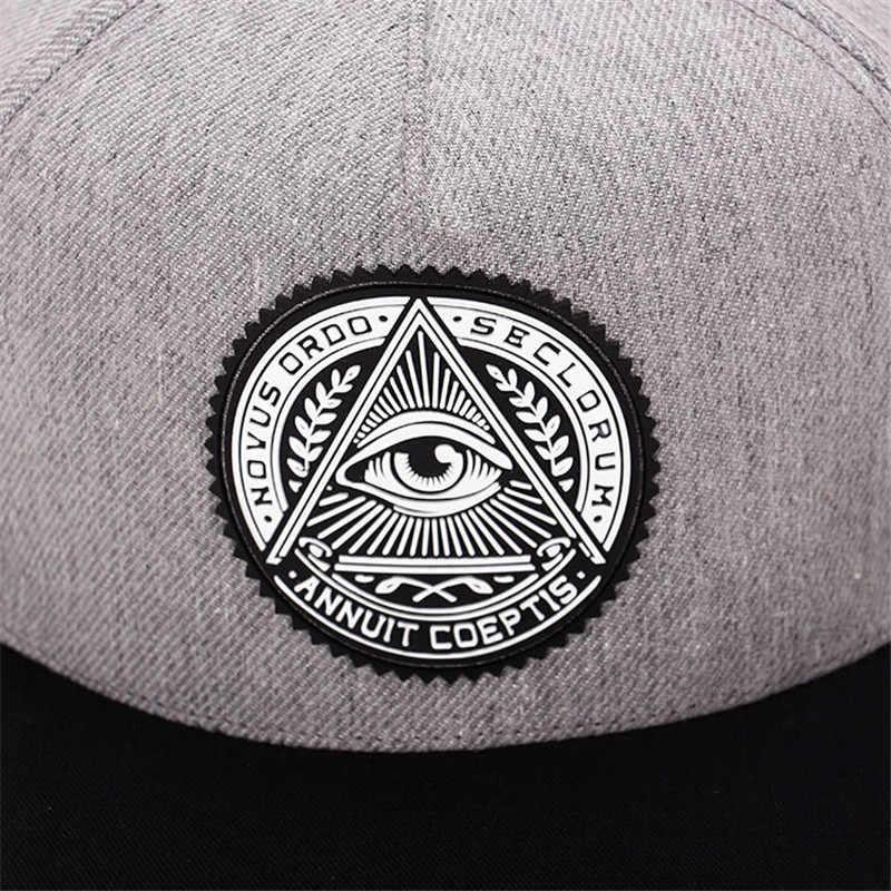 40ef11575c2 ... 2018 Fashion Round Label Triangle Eye Illuminati Snapback Hats Women  Adjustable Baseball Cap Men Snapbacks Hip ...