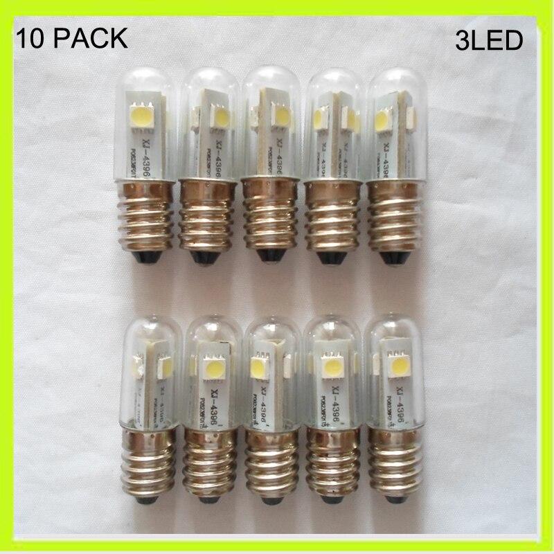 10 PACK mini 3*5050smd LED corn bulbs led refrigerator light 360 degree glass warm cool white E14 screw 220v 230v 240v 120v