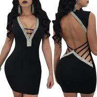 Club sexy vestido de cóctel para mujer cuerpo sin mangas mini vestidos de cuello profundo V vendaje WS4703W