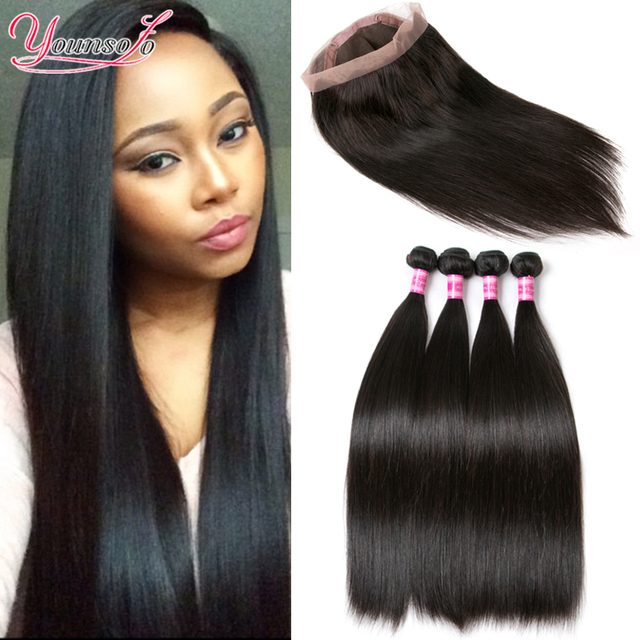 Brazilian Virgin Hair Straight With 360 Full Lace Band Frontal Closure 4 Bundles Straight Hair With 360 Lace Frontal With Bundle