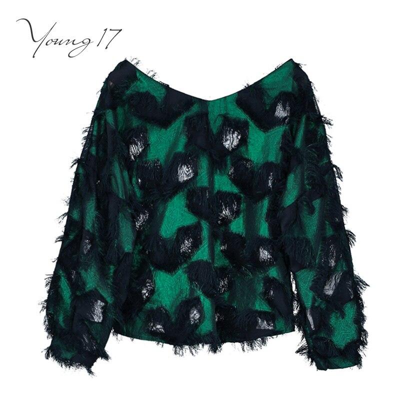 Young17 women blouse straight V-neck tassel patchwork color block travel look female elegant fashion beauty women blouse shirts