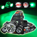 Boruit RJ-3000 5000Lumen  HeadLight T6 Beads +2 Green LED Headlamp Head light Head Torches Lamp