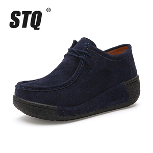 Image 2 - STQ 2020 Spring Women Flats Platform Sneakers Shoes Women Casual Shoes Leather Suede Moccasins Shoes Women Lace Up Creepers 3582