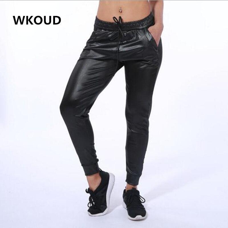 WKOUD Black Leggings Fake Leather Drawstring Waist Harem Pants Women Casual Leggings With Pockets Plus Size P8136