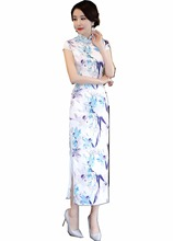 Shanghai Story Chinese Style Clothing oriental dress long Cheongsam Short Sleeve High Split Qipao Women's Vintage Long Dress