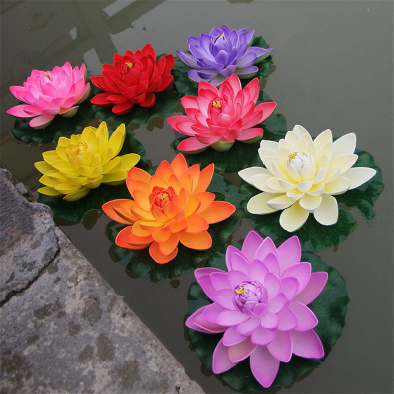 1 Pc 18cm/28cm Large Artificial EVA Lotus Flower Water Lily Water Fish Tank Decoration Props Wedding Garden Decoration