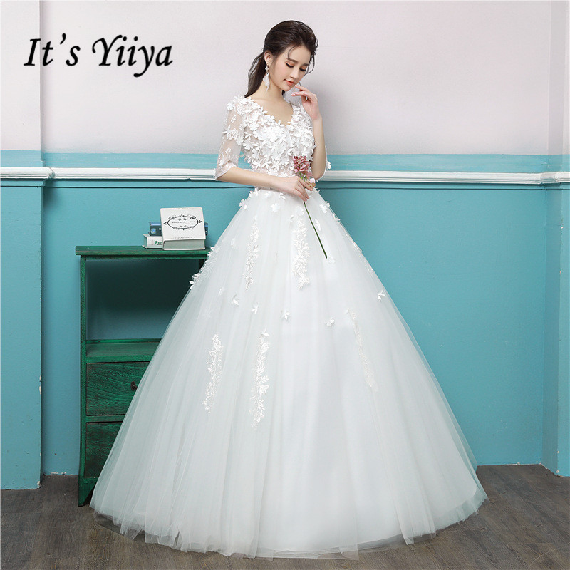 It s YiiYa Lace Floor-length Wedding Dress V-neck Off White Bride Gowns  Appliques 14e97264add0